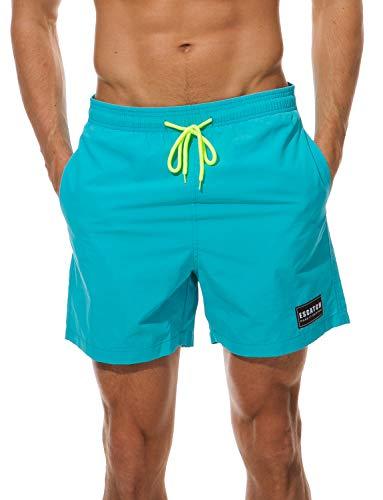 ZAPZEAL Badehose für Herren Atmungsaktiv Wasserabweisend Badeshorts Männer Trainingsshorts Elastisch Verstellbar mit Tunnelzug für Schwimmen Täglich,Himmelblau XS = Label M