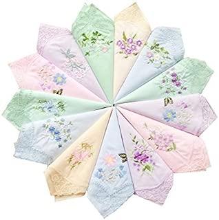 Womens New Colored Embroidered Cotton Handkerchiefs Bulk