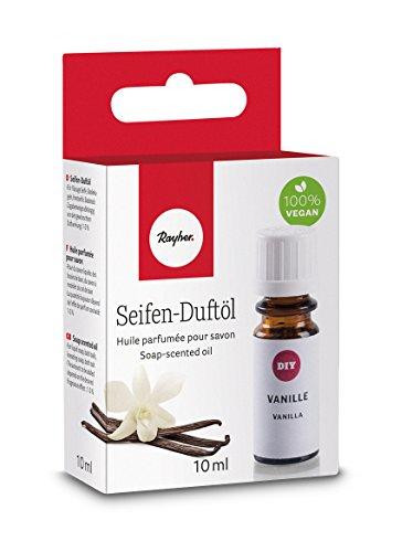Rayher 34250000 Hobby Seifen Duftöl (100% vegan, in Glasflasche mit Kindersicherheitsverschluss, hautpflegende und wohltuende Wirkung) Vanille, 10 ml