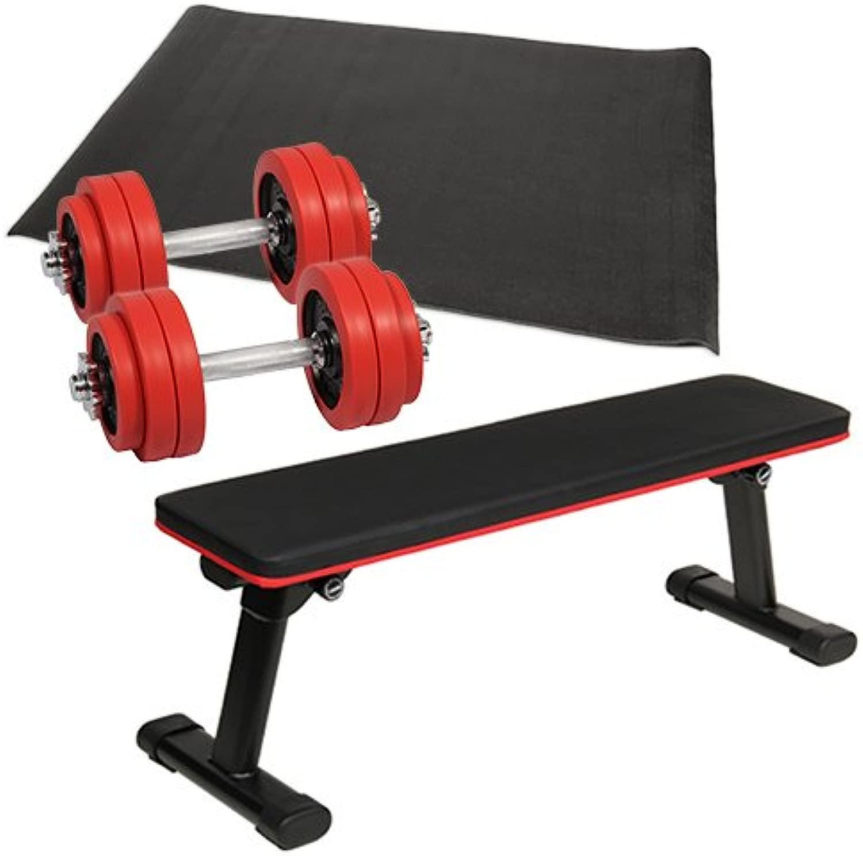 [ダンベルトレーニング] 4点セットC レッド 15kg 折りたたみフラットベンチ ラバーダンベル 15kg 2個セット 保護マット
