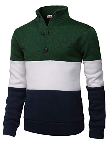 H2H Mens Fashion Knitted Slim Fit Pullover Sweaters Color Block High-Neck with Button Point Green US M/Asia L (CMOSWL038)
