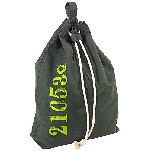 Wenko 62042100 Wäschesack Sailor - Wäschesammler, Fassungsvermögen 50 L, Baumwolle, 55 x 65 x 18 cm, grün