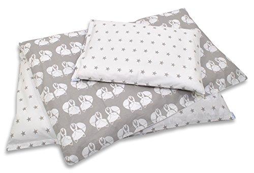 Babybettwäsche Kinderbettwäsche Bettset 2 tlg. 100 x 135cm in verschiedenen Farben und Motiven von baBice, Muster:Füchse grau