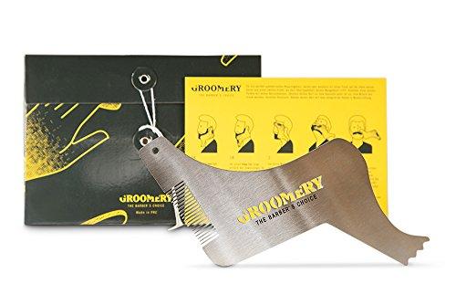 Groomery 6-in-1 Edelstahl Bartschablone / Rasiervorlage inkl. Anleitungskarte für perfekt symmetrische Rasurergebnisse und messerscharfe Konturen wie beim Barbier