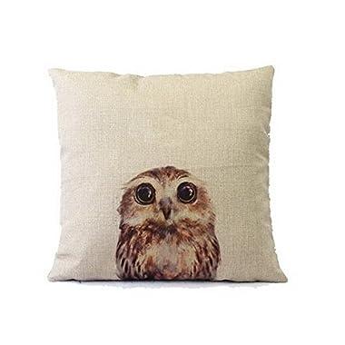 Little Owl Cotton Linen Art Decorative Pillow covers 18*18
