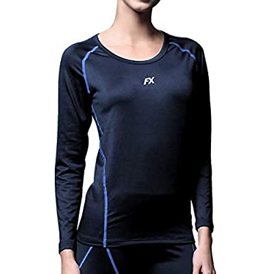 FITEXTREME Womens MAXHEAT Fleece Seamless Thermal Underwear Top Navy S from