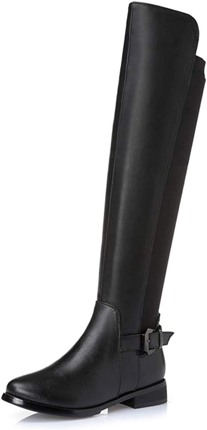 Women's Long Boots, Over The Knee High Elasticated High Boots Ladies Zip Low Heel Slim Flat Fashion Boots (color   Black, Size   36)