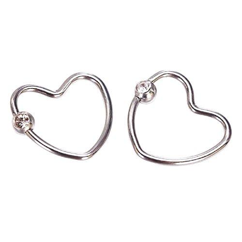 Zhichengbosi 1 par de pendientes de corazón de plata hechos de acero inoxidable.