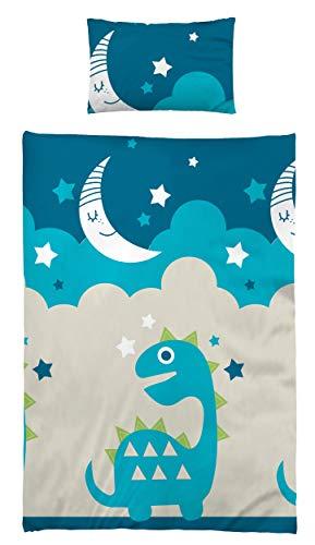 Kinderbettwäsche Babybettwäsche 100x135 cm 40x60 cm 100% Baumwolle Kleinkinder Bettwäsche Set Moon Sterne Baby Dino Blau