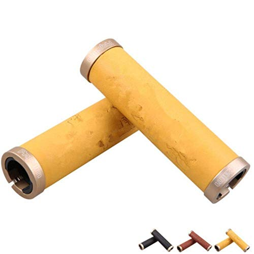 Bike Handlebar Grips Bike Handlebar Grips,Lock-on Bicycle Grips Handle Bar End Holding Locking Grips,for MTB Mountain Downhill Folding LINGGE (Color : Brass, Size : Free size)