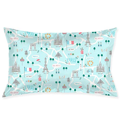 LESLIEYU Ultra-Soft Pillow Protectors Cases Covers, Eiffel Tower Rectangle Sofa Pillowcases Shams with Zippered, Waist Cushion Throw Pillow Cover for Couch Bed Bedroom Chair (20 x 30)