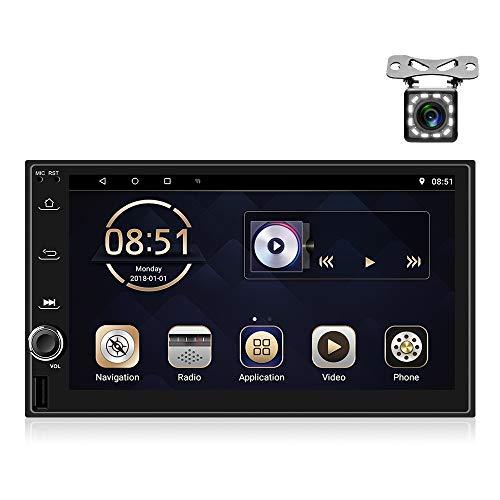OiLiehu Android Autoradio Double Din MP5 éCran Tactile Bluetooth, StéRéO MultiméDia 7', Prise en Charge de L'Affichage Double éCran, Navigation GPS et CaméRa de Recul USB FM WiFi Mirror Link