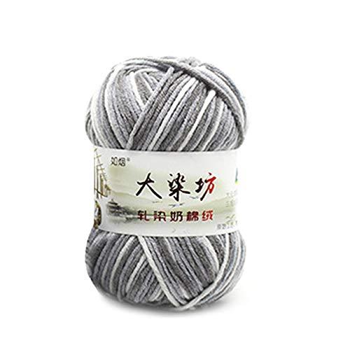 Ashley GAO Hilo de algodón suave 5 hebras hilo de tejer a mano lana ganchillo hilo tejido lana...