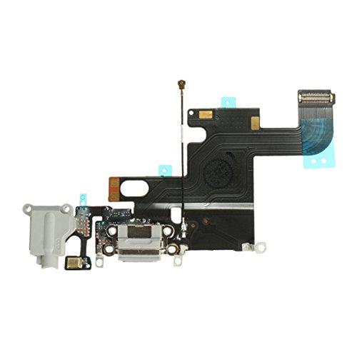 OnlyTech - Conector de Carga de Repuesto Compatible con iPhone 6 - Dock de Repuesto con Cable Flex, Micrófono, Conector Audio Jack y Antena. Color Gris Claro