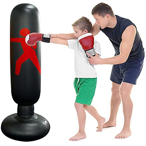 Uppblåsbar stående boxväska, Speyang boxningssäck barn 160 cm, punching Tower, fristående boxningssäck barn, punching Bag barn, stående boxningssäck, stående för boxkaratträning, styrketräning