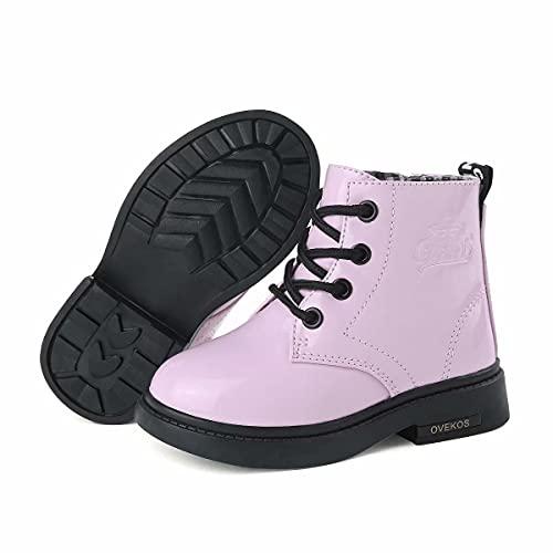 Hoylson Kinder Boots Mädchen Stiefel Stiefeletten Winter Kinderstiefel Lack Warm Schneestiefel für Girls (Pink mit Gefüttert, gr 29)