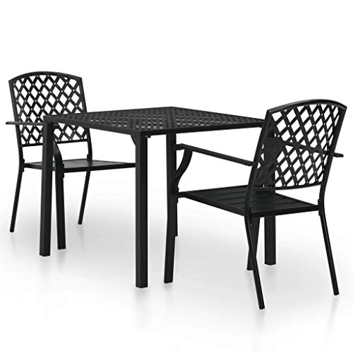 Festnight Set of 3pcs Mesh Design Outdoor Bistro Set| Metal Garden Table Chairs Set| Balcony Table Chair Set| Outdoor Garden Patio Furniture| 2x Stackable Chairs and 1x Square Table, Black