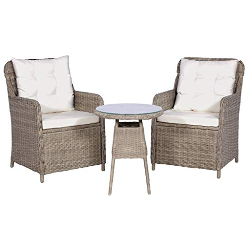 vidaXL Bistro Set 3-Piece Poly Rattan Garden Furniture Set Brown