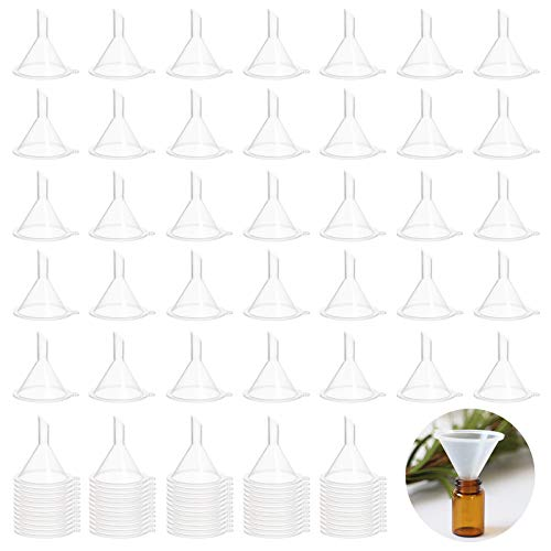 100 Pcs Mini Funnel,Clear Plastic Mini Funnels,Small Multi-Purpose Funnels for Perfume,Essential Oils,Lab Bottles,Sand Art,Spices and Recreational Activities
