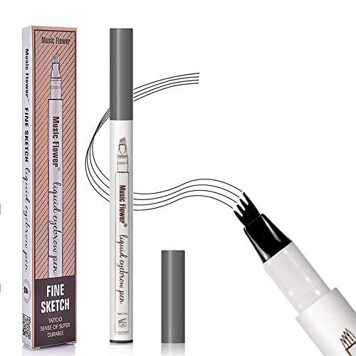 Augenbrauenstift,Augenbrauenstift Wasserfest,Waterproof Microblading Eyebrow Pen mit Tips Wasserfester Langenhaltend für Natürlich Augenbrauen Schminke (Dunkelgrau)