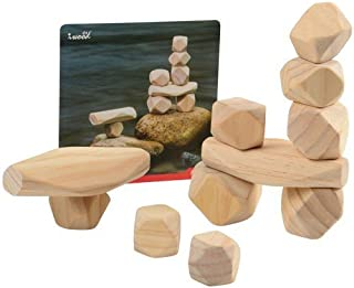 Constructive Playthings 11 pc. Lightweight Natural Wooden Balancing Blocks with Idea Cards; Largest Block Measures 4 3/4