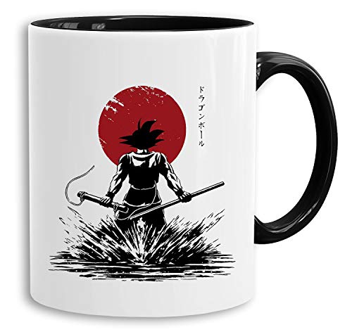 Red Sun Goku Back - Tasse Kaffeetasse Son Ruffy Luffy Naruto Saitama One Dragon Master Goku Ball Vegeta Roshi Piece Db, Farbe:Weiß