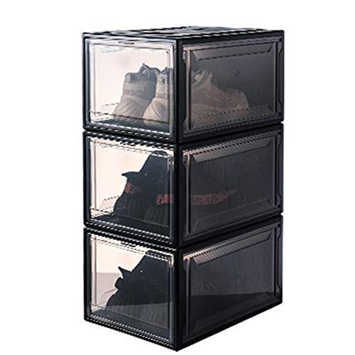 Schuhkarton, Aufbewahrungsbox Schuhkarton für Damen und Herren Faltbarer, Stapelbarer Schuhkarton aus Kunststoff mit Durchsichtigem Wandschrank und Schuhorganisator,Maximal 46 Meter Schuhe (Schwarz)