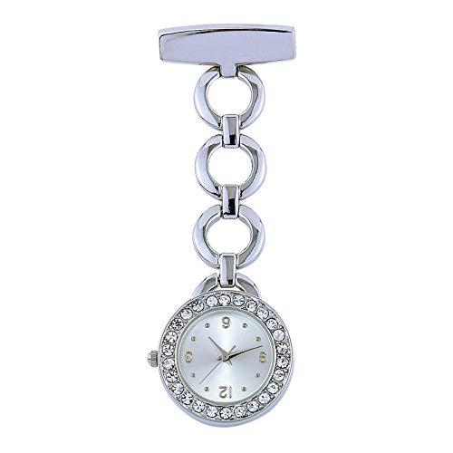 Médico Reloj Prendedor de Broche,Reloj de bolsillo médico impermeable para enfermera,reloj de cadena de aleación de diamantes con incrustaciones de plata,Reloj de Bolsillo enfermera Movimiento Cuarzo