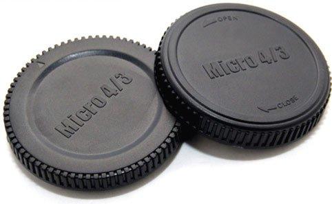 Gehäuse-/Objektivrückdeckel Set/Front- und Rück- Deckel für Kamera-Gehäuse und Objektiv Micro FourThirds Body (Panasonic Lumix, Olympus Pen)