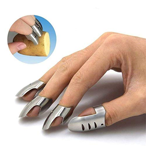 NO MORE CUT FINGERS! Adjustable Hand Guard Finger Protector Stainless Steel Knife Slicing Chop-Safe Kitchen Tool, Finger Guard Avoid Hurting When Slicing, Chopping and Dicing(3pcs standard+1pcs thumb)