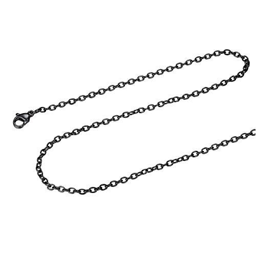 FOCALOOK Damen Herren Kette 2mm dünne Rolokette Edelstahl Halskette Ersatzkette für Anhänger schwarz Gliederkette 70cm