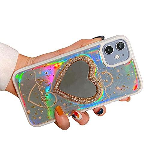 FOURTOC Custodia Glitter Love Heart Specchio per iPhone 12 12 PRO 12 PRO Max Cover Morbido TPU Antiurti Epossidico Cover,002,XS Max