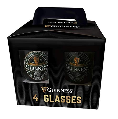 Official Guinness Glasses 4 Pack with Ruby, Ireland and Embossed Harp Design