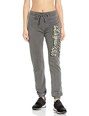 Betsey Johnson Women's Betsey Leopard Sweatpant, Black, Extra Large