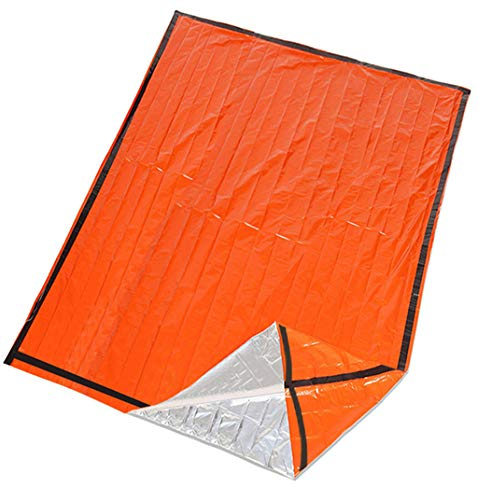Thermal Emergency Sleeping Bag, Pstarts Lightweight Ultra-Thin Waterproof Foil Survival Gear for Outdoor Camping Hiking Marathon, Insulation Pad Blanket Sack First Aid Tent (Double)