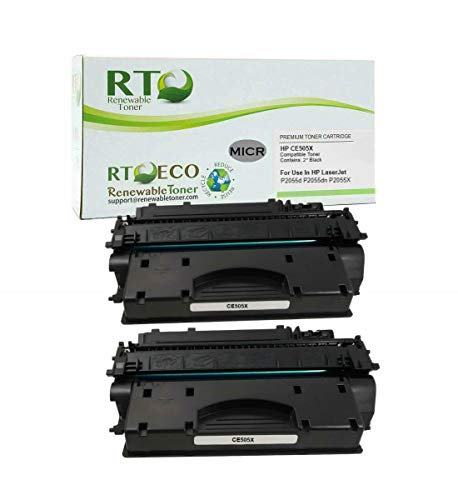 Renewable Toner Compatible MICR Toner Cartridge High Yield Replacement for HP 05X CE505X Laserjet P2055 (2-Pack)