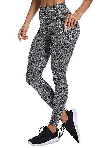 INSTINNCT Damen Sport Hohe Taille Leggings mit Taschen Yogahose Sporthose Laufhose Training Tights Grau L