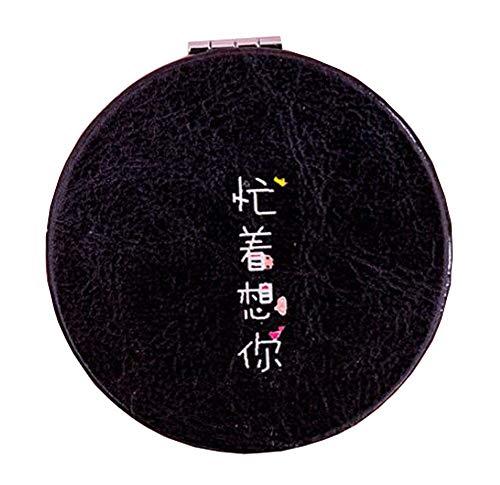 Miroir de maquillage pliant rond Miroir maquillage créatif simple, noir