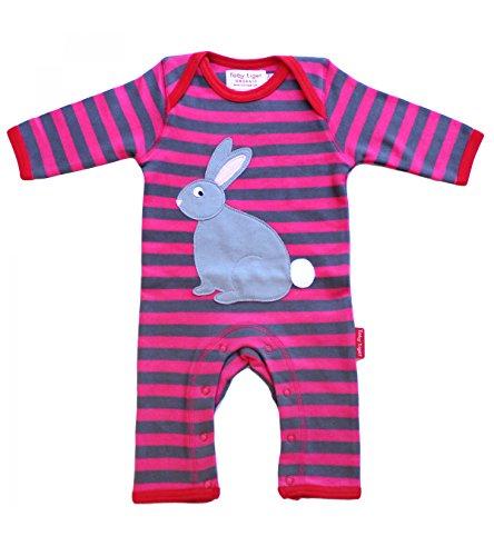 Toby Tiger 100% Organic Cotton Super Soft Rabbit appliqué Sleepsuit. Barboteuse, Gris, 6-12 Mois Bébé garçon