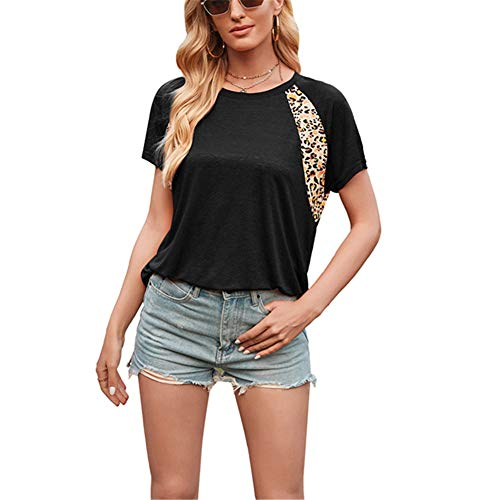 ZFQQ Camiseta de Manga Corta con Cuello Redondo y Estampado de Leopardo Superior para Mujer de Primavera y Verano