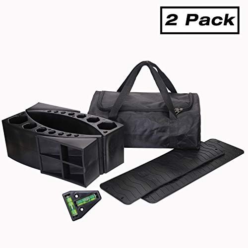 Homeon Wheels 2 Pack Camper Leveler Two Curved Levelers Two Blocks Two Non-Slip Mats One T Level for Trailers Campers, 35,000 lb Heavy Duty Leveler Tire Chocks for RV Camper Trailer Truck Motorhome