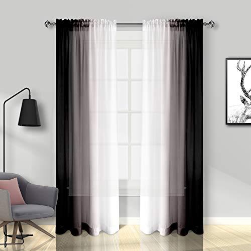Melodieux Transparente Vorhänge, 160 cm lang, für Wohnzimmer, Schlafzimmer, Chiffon, Schwarz-Weiß, Farbverlauf, Stangentasche, Voile, 132 x 160 cm, 2 Bahnen