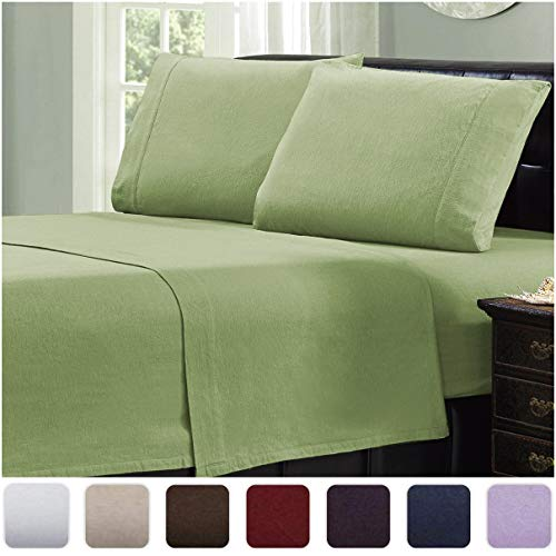 Mellanni 100% Cotton Flannel Sheet Set - Lightweight 4 pc Luxury Bed Sheets - Cozy, Soft, Warm, Breathable Bedding - Deep Pockets - All Around Elastic...