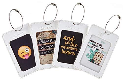 Travelambo Leather Luggage Tag Suitcase Bag Travel Tags (White 4 pcs Set)