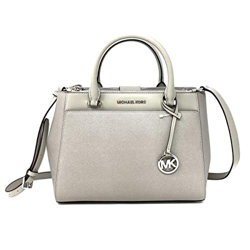 Michael Kors Gibson large Satchel with Sling, Pearl Grey