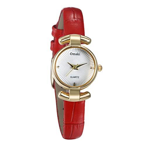 JewelryWe Damenuhr Elegant Analog Quarz Armbanduhr 30M wasserdichte Beiläufige Uhr mit Echtleder Leder Armband für Frauen Mädchen Rot