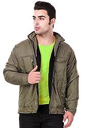 Lafantar Mens Regular Fit Nylon Jacket (mkt701dd) Green