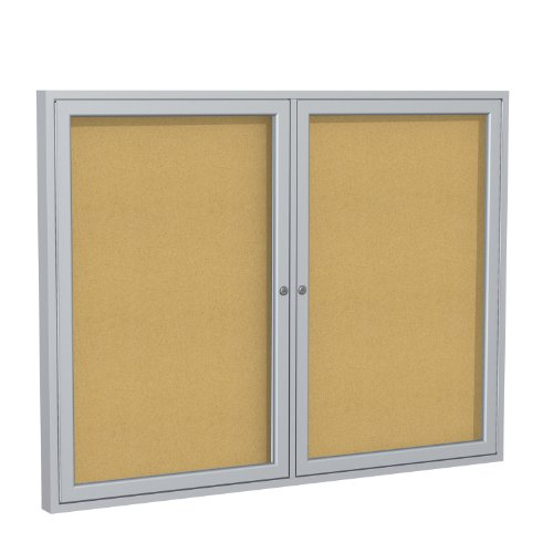"""Ghent 36""""x60"""" 2-Door indoor Enclosed Bulletin Board , Shatter Resistant, with Lock, Satin Aluminum Frame - Natural Cork (PA23660K) Made in the USA"""