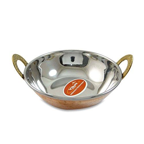 indian rame Karahi ciotola servito indiano da tavola Cucina Acciaio 2pezzi Kupfer-3