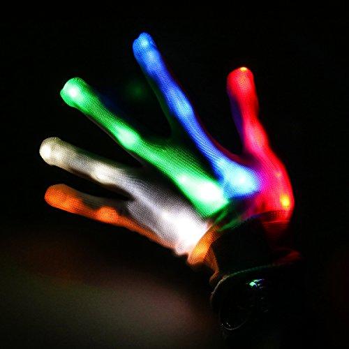 Weiye LED Handschuhe - Party Licht Show Skelett Halloween Handschuhe - Multicolor LED Handschuh für Vereine Licht Show Dancing Handschuhe für Clubbing, Halloween, RAVE, Disco, und Party bunt, 1pcs